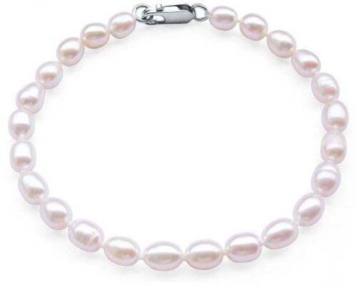 White 5-6mm Delicate Pearl Bracelet in SS