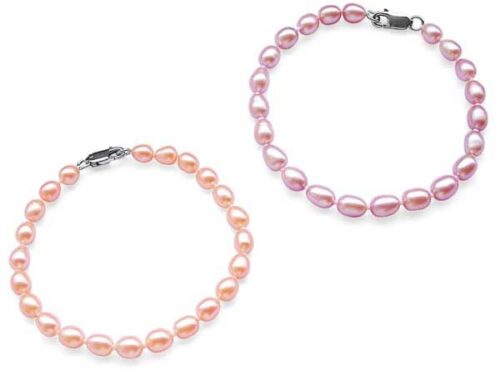 Pink and Lavender 5-6mm Delicate Pearl Bracelet in SS