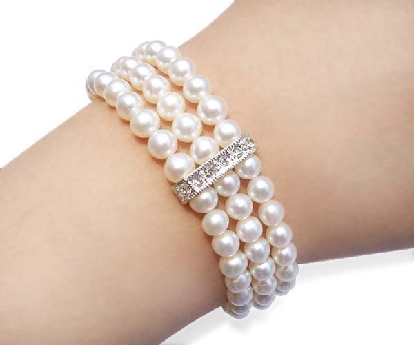 White 6-6.5mm, Three Rows of Round Pearls in Cz