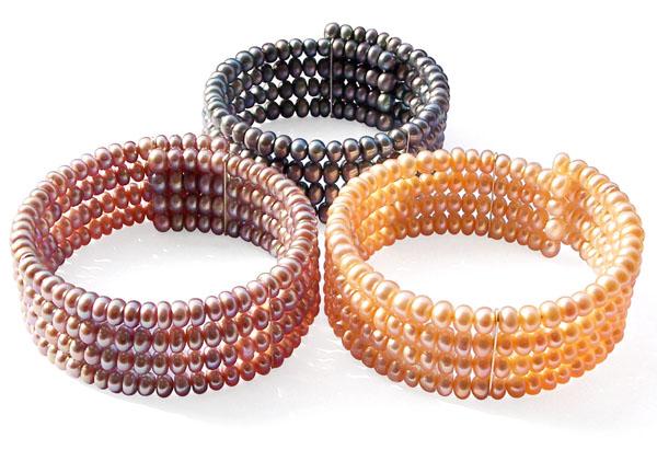 Black, Pink and Mauve Elegant Simple 4-row Pearl Bangle