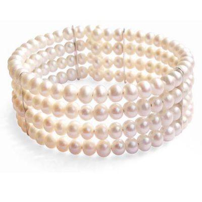 White Elegant Simple 4-row Pearl Bangle