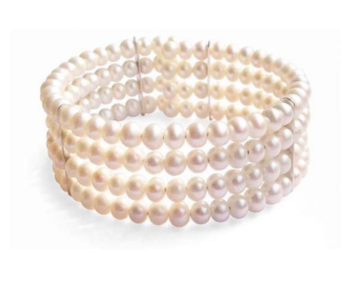 White Elegant Simple 4-row Pearl Bangle