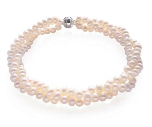 White 3rows of 3-4mm Pearl Bracelet
