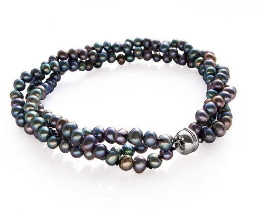 Black 3rows of 3-4mm Pearl Bracelet