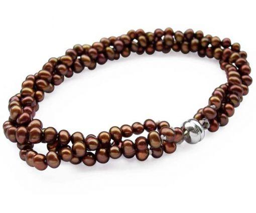Chocolate 3rows of 3-4mm Pearl Bracelet