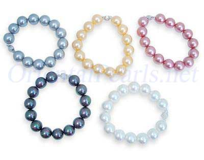 Royal Blue, Yellow, Hot Pink, Peacock Green and White 12mm or 14mm SSS Pearl Silver Bracelet in 925 SS