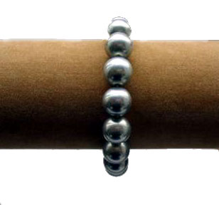 Black 12mm or 14mm SSS Pearl Silver Bracelet in 925 SS