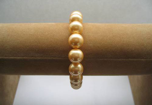 Gold 12mm or 14mm SSS Pearl Silver Bracelet in 925 SS