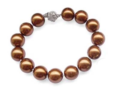 Chocolate 12mm or 14mm SSS Pearl Silver Bracelet in 925 SS