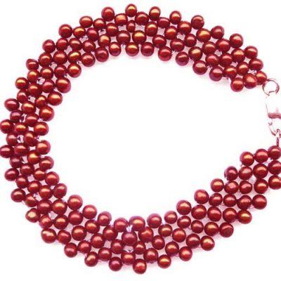 5-row Cranberry pearl bracelet