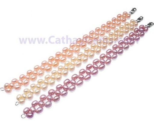 White, Pink and Mauve Chic Three Rows Rice Pearl Bracelet, 925 SS Clasp