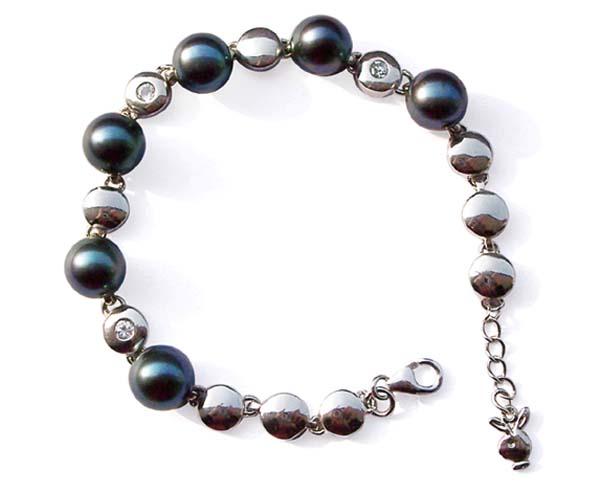 Black 8.5mm Button Pearl Adjustable SS Bracelet