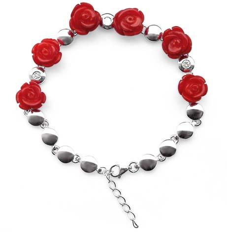 Red Genuine Rose Shaped Adjustable Coral Bracelet in 925 SS, 18k WG overlay