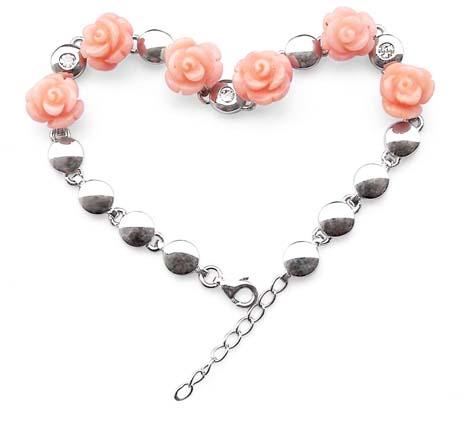 Pink Genuine Rose Shaped Adjustable Coral Bracelet in 925 SS, 18k WG overlay