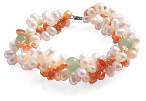 White/Orange/Light Green 3-Strand Keshi Pearls, Peanut Pearls, and Jade Combined Bracelet w/ 925 SS