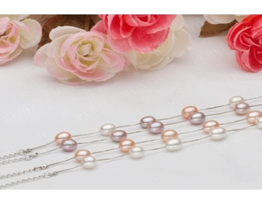 White, Pink and Mauve 7-8mm AAA Rice or Drop Pearl Tin Cup Bracelet in 925 SS, Adjustable