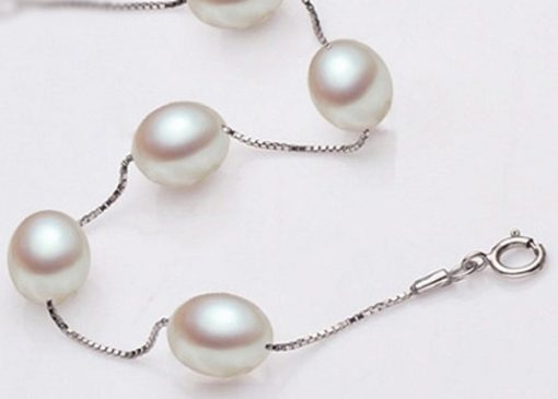 White 7-8mm AAA Rice or Drop Pearl Tin Cup Bracelet in 925 SS, Adjustable
