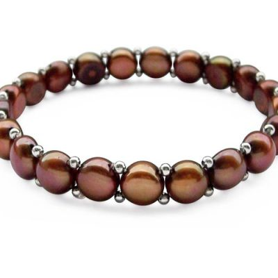 Chocolate 8.5-9.5mm Button Pearl Bracelet, Stretchable