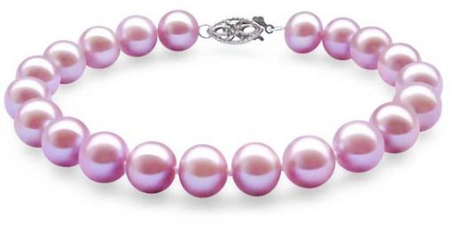 Mauve 8-8.5mm Very High AAA Gem Quality Pearl Bracelet, 14k Solid Gold