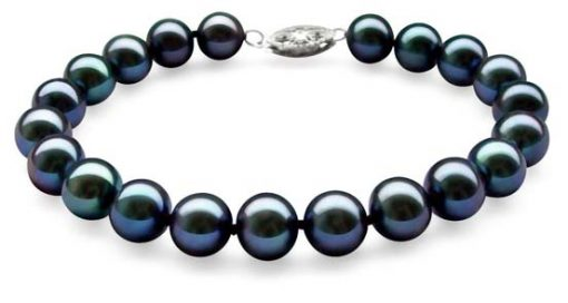 Black 8-8.5mm Very High AAA Gem Quality Pearl Bracelet, 14k Solid Gold