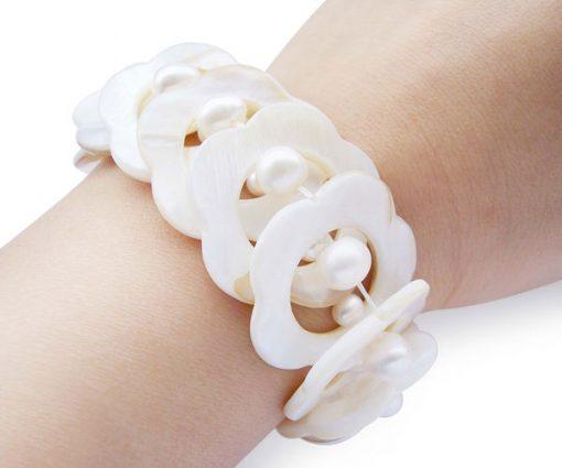 White MOP and Genuine Pearl Elastic Bracelet