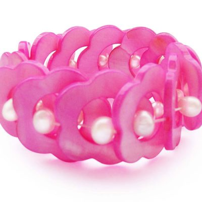 Hot Pink MOP and Genuine Pearl Elastic Bracelet