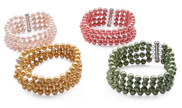 Champagne, Peacock Green, Pale Pink and Rose Pink 4-Row 6mm Southsea Shell Pearl Bracelet, 925 SS