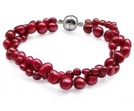 Cranberry 4-5mm and 7-8mm 2-Row Baroque Pearl Bracelet, Magnetic Clasp