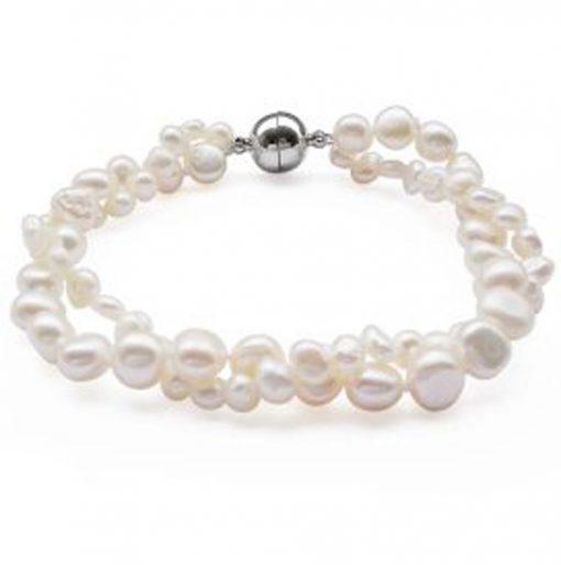 White 2-Row Baroque Pearl Bracelet,