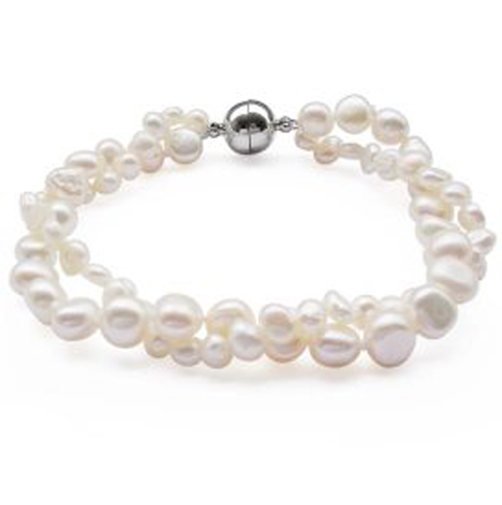 White 4-5mm and 7-8mm 2-Row Baroque Pearl Bracelet, Magnetic Clasp