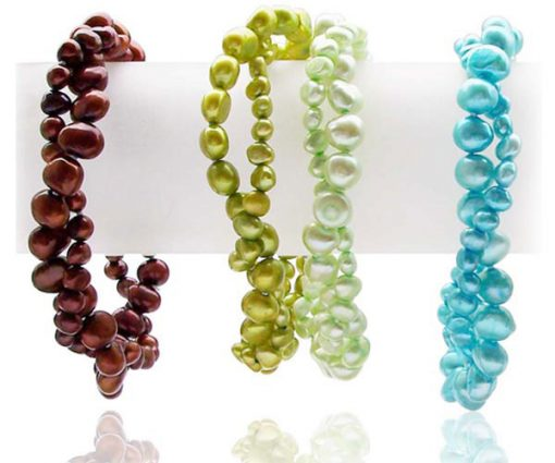 chocolate, olive green, and blue colored 2-Row Baroque Pearl Bracelet