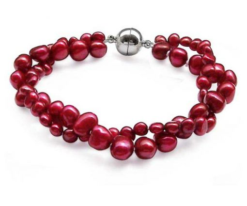red 2-Row Baroque Pearl Bracelet