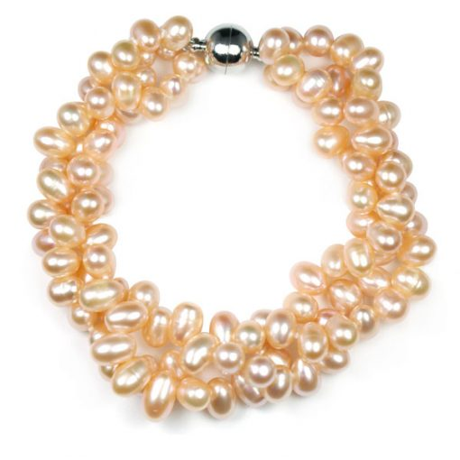 Pink 3 Row Pearl Bracelet, Magnetic Clasp
