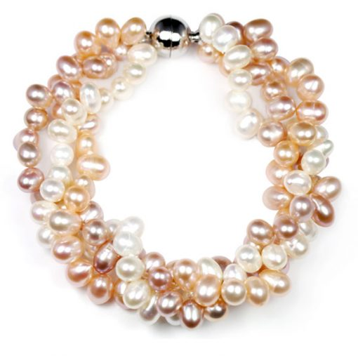 White/Mauve/Pink 3 Row Pearl Bracelet, Magnetic Clasp