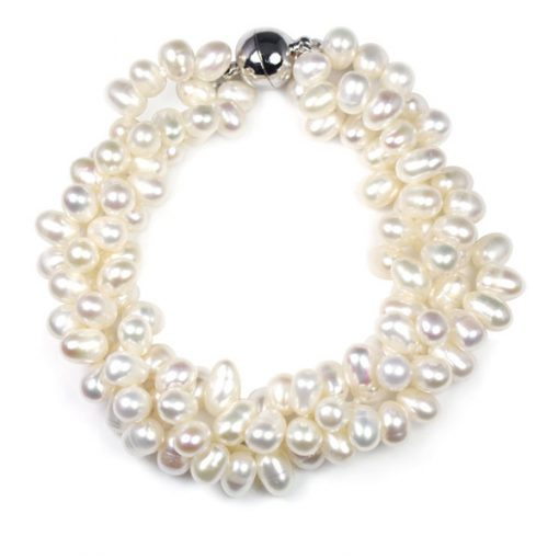 White 3 Row Pearl Bracelet, Magnetic Clasp