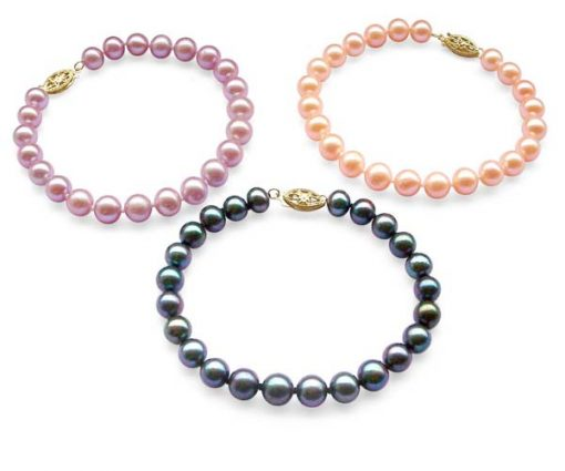 Mauve, Pink and Black 7-7.5mm Pearl Bracelet, 14K Yellow Gold