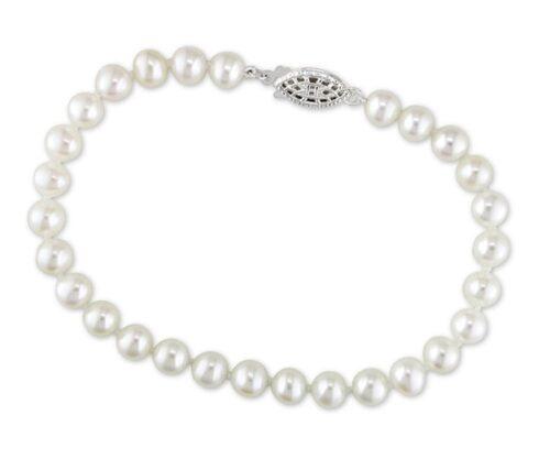 White 7-7.5mm Pearl Bracelet, 14K White Gold