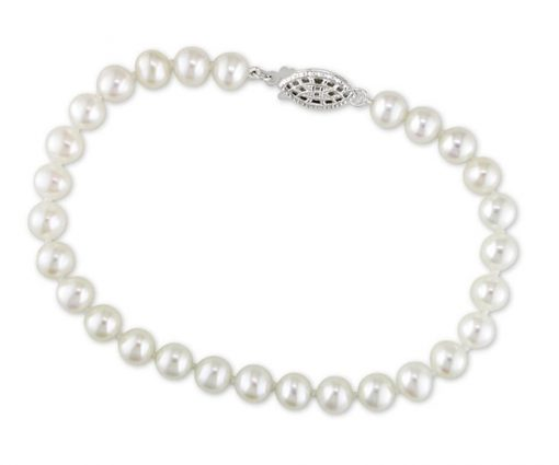White 7-7.5mm Pearl Bracelet, 14K White Gold
