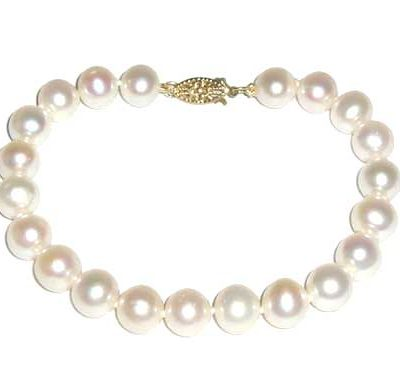 White 7-7.5mm Pearl Bracelet, 14K Yellow Gold