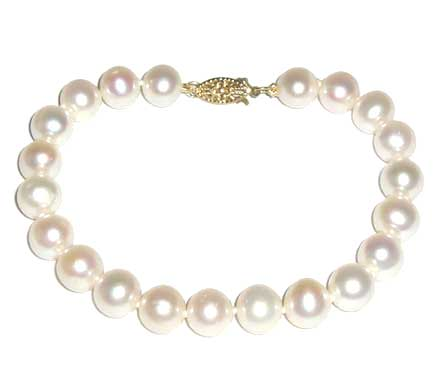 White 7-7.5mm Pearl Bracelet, 14K Yellow Gold