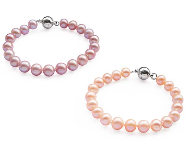 Mauve and Pink 8-9mm AA Round Pearl Bracelet, Magnetic Clasp