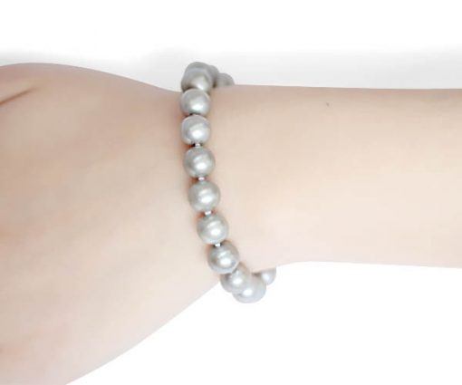 Grey 8-9mm AA Round Pearl Bracelet, Magnetic Clasp