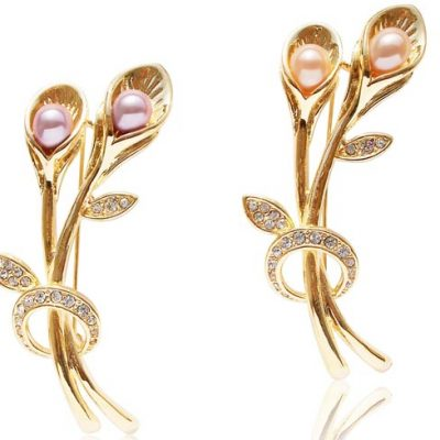 Pink and Mauve Double 6-8mm Drop Pearl Brooch,18K YG Plated