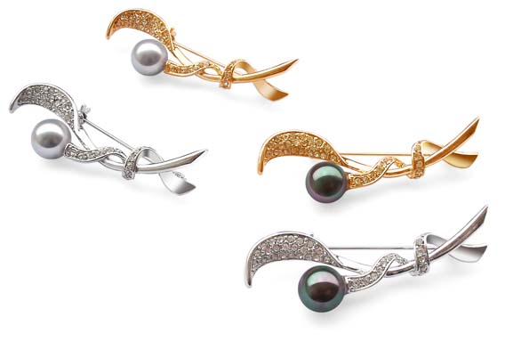 Grey and Peacock Black 10mm SSS Pearl Brooch with 18k WG or YG Overlay