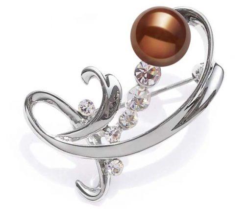 Chocolate Real Pearl in Austrian Crystal Brooch