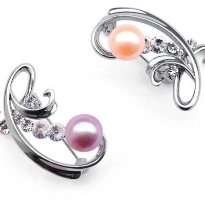 Mauve and Pink Real Pearl in Austrian Crystal Brooch