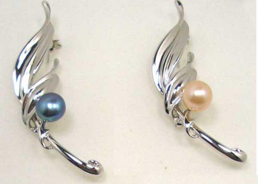 Navy Blue and Pink Pearl Leaf Brooch