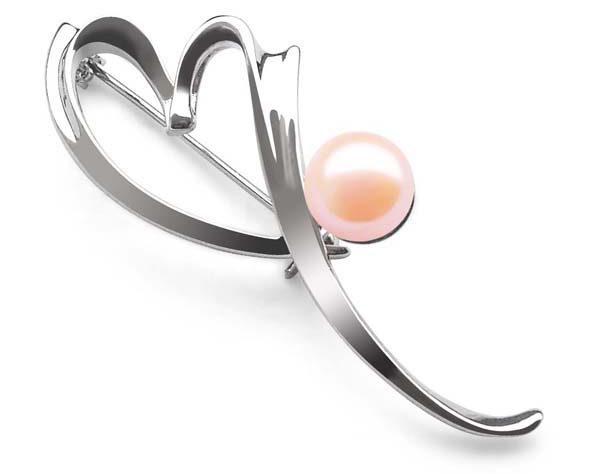 Pink 8-8.5mm Genuine Pearl Brooch, Heart Shaped, 18K WG filled