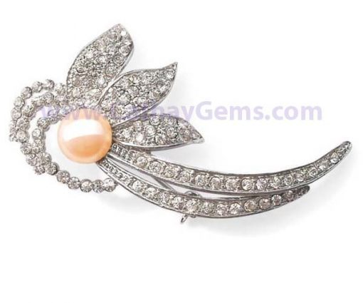 Pearl Brooch in a Floral Design white gold overlay