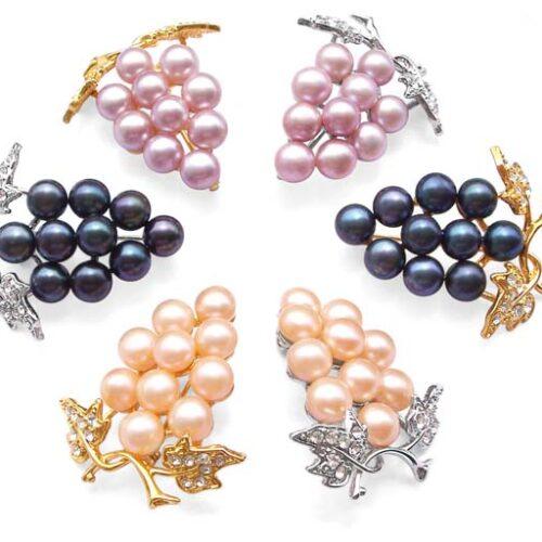 Lavender, Black and Pink Genuine Pearl Brooch - Ten Round Pearls